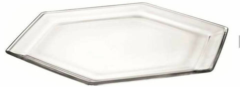 38 x 33cm Esa Vassoio Hexagon Tray Large Glass Serving Platter Glass Tray