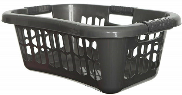 Large Silver Stackable Strong Ergonomic Hip Laundry Washing Basket & Handles