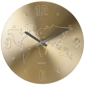 Large Metal Wall Clock 35cm Diameter in Gold or Silver with World Map Etched