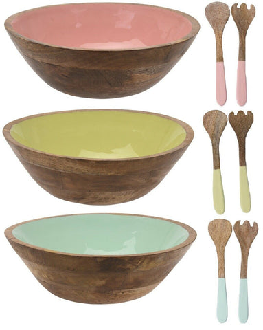 Large 30cm Solid Mango Wood Salad Bowl With Matching Salad Spoon Fork