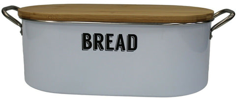 Typhoon Vintage Themed Kitchen Bread Bin Retro White Bread Bin & Handle