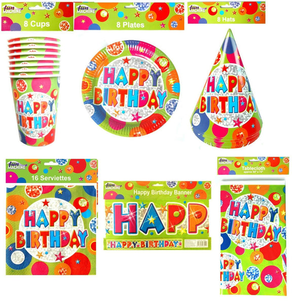 Disposable Paperware For Birthday Parties 42 Piece Set includes Plates Hats