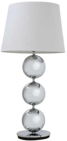 "Pharmore Large Chrome Bauble Table Lamp With 14"" Cream Shade"