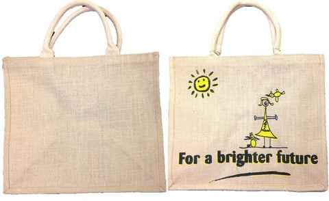 Set of 5 Hessian Shopping Bags With Strong Handles