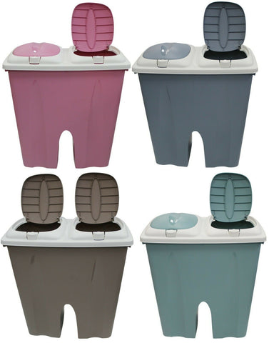 Double Bin 2 x 25 L Rubbish Bin & Indoor Recycling Bin In Pastel Colours Duo Bin