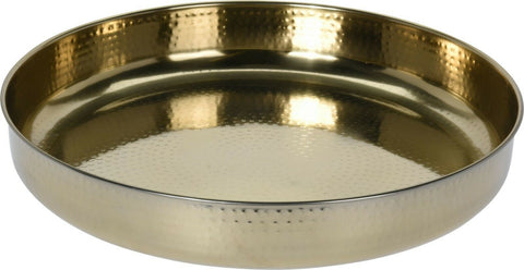 Large 42cm Round Gold Serving Tray Stainless Steel Deep Tray Hammered