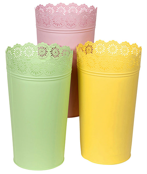 Pastel Colours Tall Flower Vase Garden Outdoor Metal Pots Indoor or Outdoor Pots