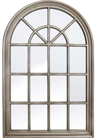 Very Large Metal Antique Silver Arch Window Metal Frame Mirror 120cm Tall x 80cm