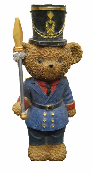 Freestanding Bear Soldier Figurine Blue Jacket With Spear And Hat 24cm Tall