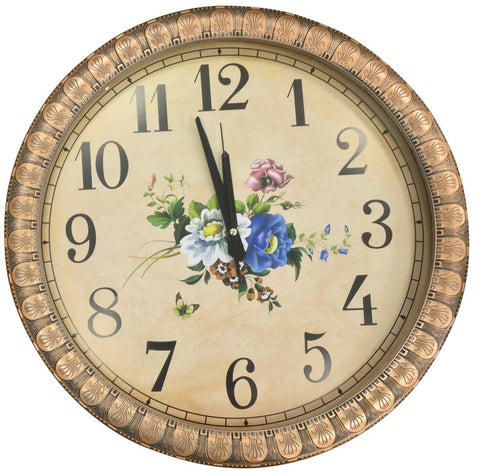 Large 45 cm Round Wall Clock With Quartz Movement Copper Frame Floral