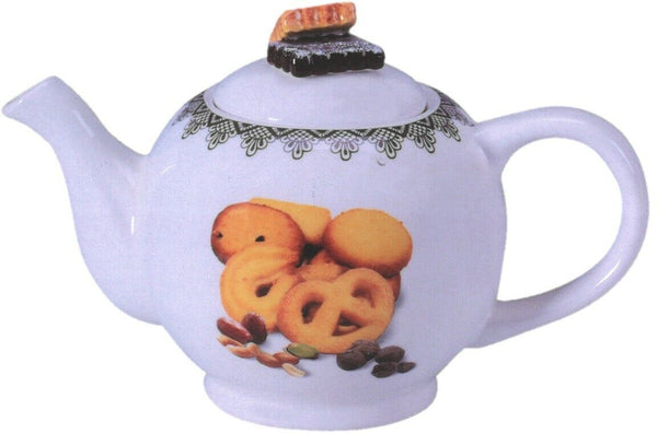 800ml White Porcelain Tea pot With Colourful Cookies on Teapot & Biscuit Lid