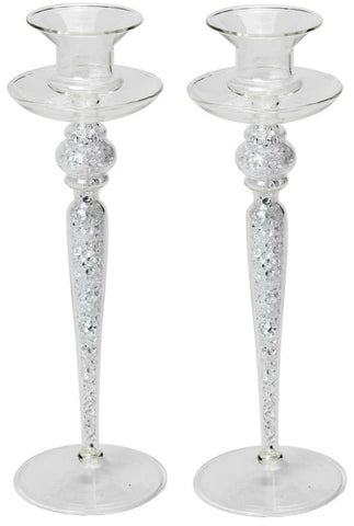 Tall Glass Candlesticks Filled With Glittering Beads Candle Holder 23cm Tall