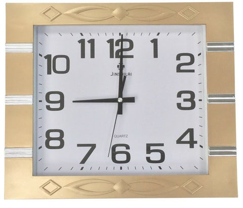 Large 40cm x 35 Rectangle Wall Clock Gold Frame With Gloss Silver Stripes