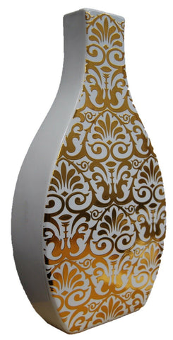 30cm White & Gold Decal Square Neck Flower Vase Ceramic Bottle Vase