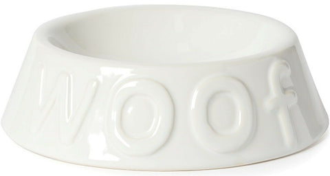 Ancol Medium Ceramic Gloss White Dog Bowl Dog Feeding Bowl for water or food