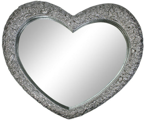 Large Ornate Antique French Heart Shaped Silver Wall Mirror 77cm x 64cm