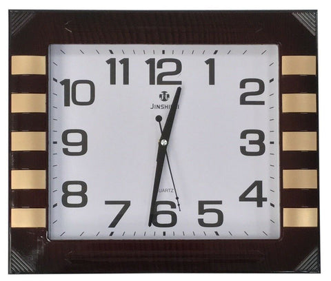 Large 40cm x 35cm Rectangle Wall Clock Mahogany Effect Wood Frame & Gold Finish