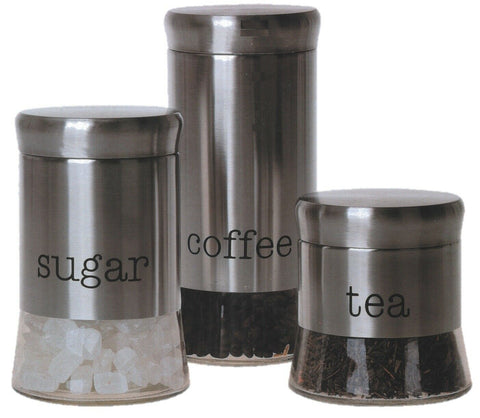 Set of 3 Stainless Steel Glass Tea Coffee Sugar Canister Caddy Set