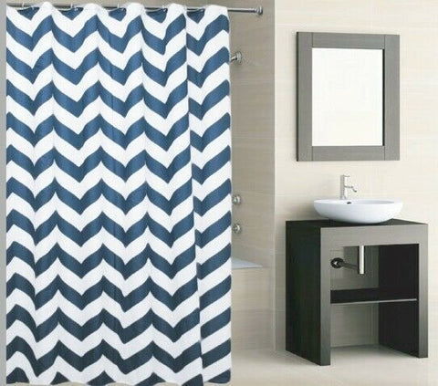 Polyester Striped Blue Shower Curtain 180 x 180cm Incl Hooks Machine Washable