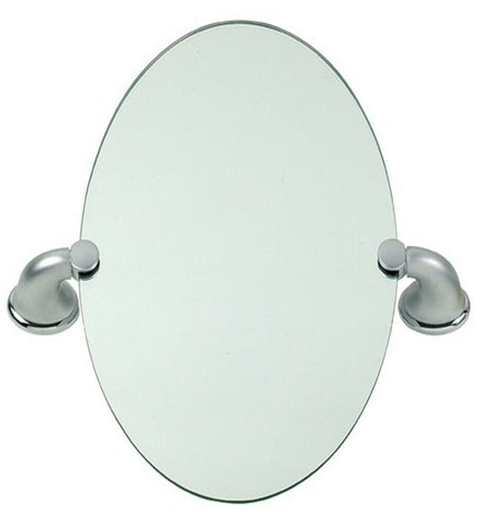 45cm Oval Mirror Satin Chrome Bathroom Wall Mirror Large Concealed Fittings