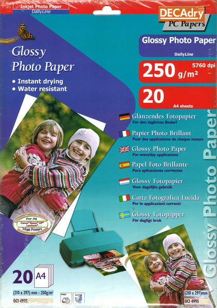 Decadry Glossy Photo Paper Photography Printing Paper 20 x A4 Sheets