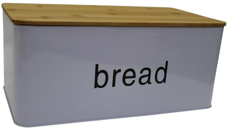 Light Purple Bread Bin Bread Crock With Bamboo Lid  Can Be Used Chopping Board