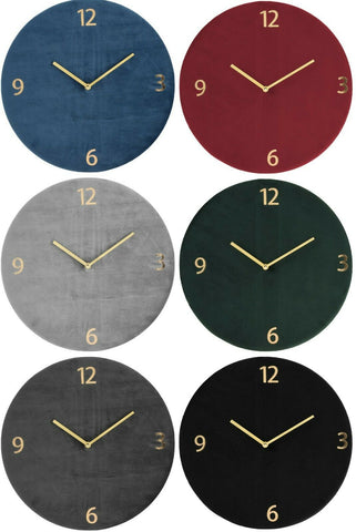Large 37cm Wall Clock Modern Style Velvet Finish Gold Handles Deluxe Collection