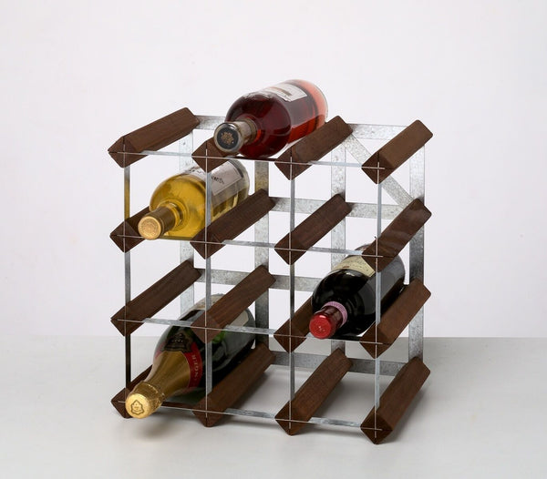 RTA 12 Bottle Traditional Wooden Wine Rack Dark / Natural Pine Self Assemble Kit
