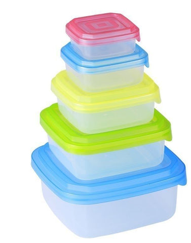 Renberg 10 Piece Plastic Kitchen Food Storage Container Set With Colourful Lids