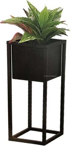 Raised Indoor Plant Pot On a Stand. Black Metal Flower Pot Tall Square Pot