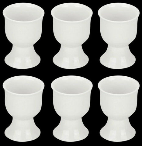Set of 6 Fully vitrified porcelain White Egg Cups. Egg Holders Set of 6