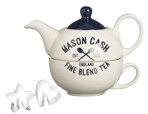 Mason Cash Tea For One Teapot Set With 2 Stainless Steel Cookie Cutters