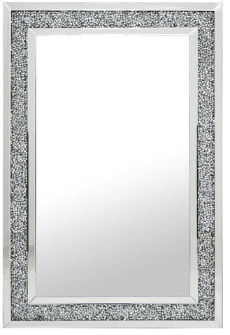 Large Gatsby Silver Rectangle Wall Mirror Diamond Crystals Edging 80cm x 120cm