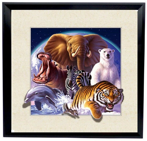 Amazing Lifelike 5d Framed Wall Wildlife Picture 40 x 40 cm Large Wall Canvas