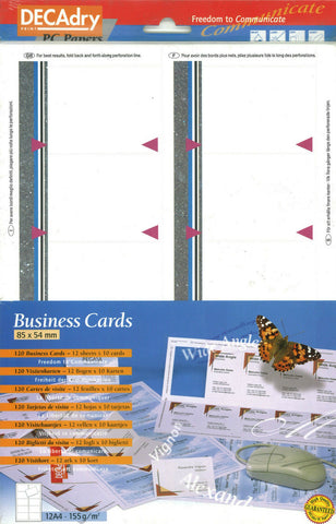 Decadry SCB 2076 120 Business Cards Make Your Own Business Cards