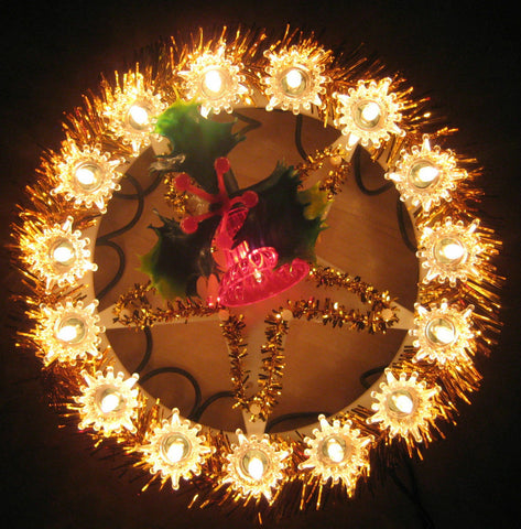 Electric Christmas Tree Decoration Wreath Fairy Lights & 24 Red Bell Light Bulb
