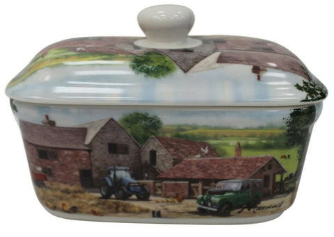 Lenoardo Collection Bell Top Fine China Farmyard Butter Dish Gift Boxed