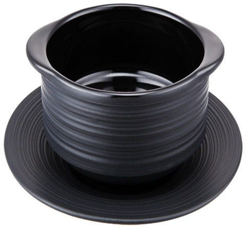 Contra Black Matt Ribbed Premium Soup Bowls & Matching Plate