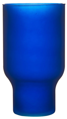 Large Blue Glass Flower Vase 30 cm Wide Mouth Hurricane Vase Matt Blue Eco glass