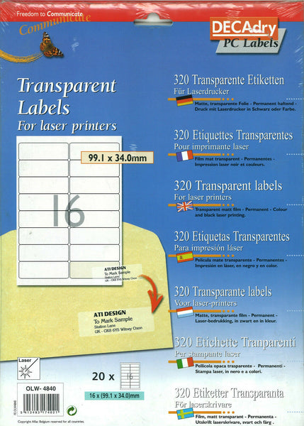 Decadry Transparent Blank Address Labels For Laser Printers / Copiers
