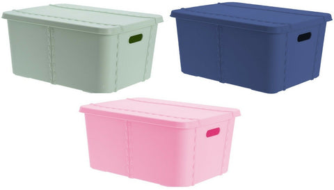 40 Litre Bright Coloured Lidded Storage Box Rectangle With Lid & Handles