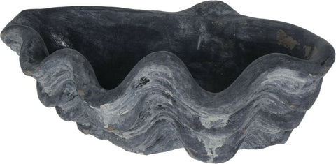 Large Heavy Weight Garden Ornament Stone Shell Planter Plant Pot Grey