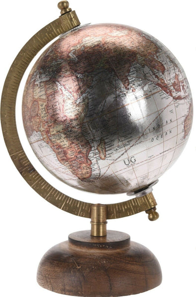 Retro 23cm Metallic Globes Ornament Globe on Wood Stand