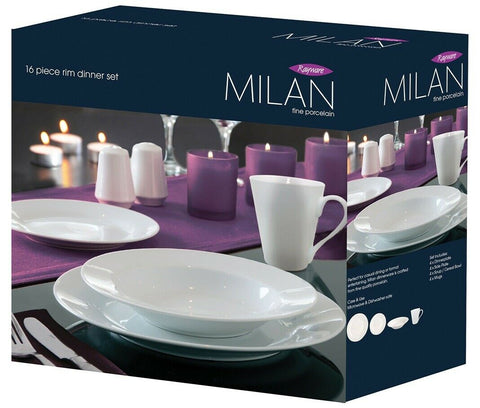 Milan Rim 16 Piece Fine Porcelain Dinner Set Classic White Dinner Set