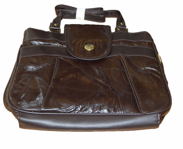 Compass Brown Ladies Trendy Shoulder Bag Genuine Leather With Synthetic Trim