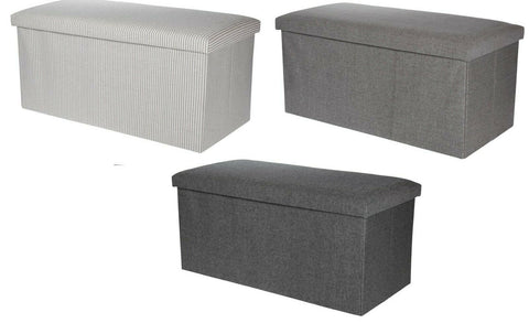 Ottoman Large Pouffe Storage Box & Seat up to 150kg Grey White Black
