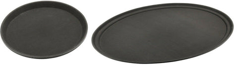 Heavy Duty Black Non Slip Serving Tray Waiters Round & Oval Tray Stackable