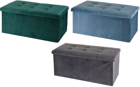 Ottoman Large Pouffe Storage Box & Seat up to 150kg Velvet Green Blue Grey