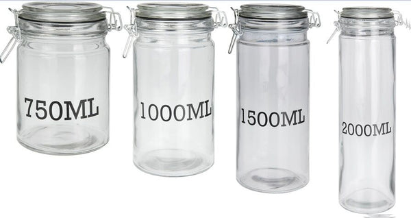 Clip Top Glass Storage Jars Very Large to Small Pasta Jars With Seal