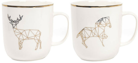 Set of 2 White Bone China Mugs Cups With Gold Rim Horse or Stag Print